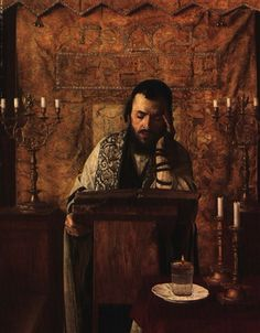 YOUNG RABBI AT PRAYER by Isidor Kaufmann