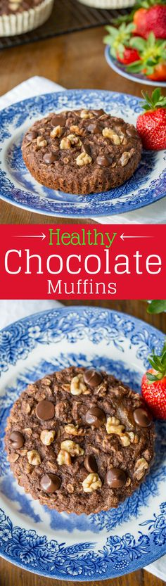Healthy Chocolate Muffins ~ with no added sugar! Loaded with spelt flour, oats, ground flaxseed meal, and coconut oil, and sweetened with applesauce and honey. Topped with dark chocolate chips and chopped walnuts. DELICIOUS! www.savingdessert.com