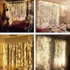 Amazon.com : AMARS 3M*3M 300leds Bedroom LED Icicle Curtain Lights Window Wall Waterfall Decoration Lights Outdoor Indoor 8 Modes LED String Light for Wedding, Party, Home (Pure White) : Home & Kitchen