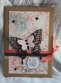 cahier scrappé avec dies papillons et papiers Stampin'up