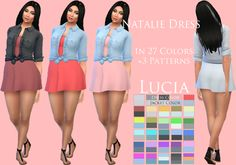 The Sims 4 | Fanatic Melon Natalie Dress for adult female | CAS clothing full body everyday