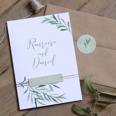 Provence - delicate shades of green in watercolor and flowing olive leaves make . Provence - delicate shades of green in watercolor and flowing olive leaves make this romantic and soulful invitation car. Wedding Gifts For Guests, Wedding Wishes, Wedding Favours, Wedding Stationery, Wedding Paper, Wedding Cards, Diy Wedding, Wedding Day, Wedding Invitation Samples