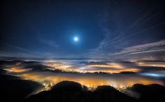 Switzerland, city, evening, alps, mountains, fog Wallpaper, Background http://4friendzcompk.blogspot.com