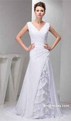 http://www.ikmdresses.com/V-neck-Sweep-Train-Chiffon-Zipper-back-Wedding-Dress-p21969