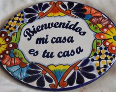 Mi casa tu casa My house is your house by MexicanTiles on Etsy Mexican Kitchen Decor, Mexican Kitchens, Talavera Pottery, Slab Pottery, Mexican Style Homes, Baby Muffins, Fun Crafts To Do, Celebrate Good Times, Front Door Decor