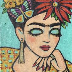 This is an original painting, not a print. Created with lots of love and texture with acrylic paint and touches of gold leaf on Frida's jewelry and the butterfly. Mexican Artists, Mexican Folk Art, Haring Art, Art Deco Posters, Diego Rivera, Original Paintings, Owl Paintings, Colorful Paintings, Gravure