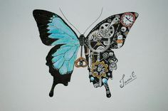 Steampunk Art drawing. Mariposa mecánica Butterfly. https://www.steampunkartifacts.com/collections/steampunk-glasses