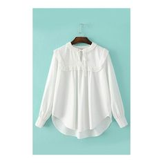 Yoins Tie-neck High-low Hem Blouse in White (1.535 RUB) ❤ liked on Polyvore featuring tops, blouses, sheer white blouses, long sleeve blouse, sheer blouses, white tie neck blouse and white necktie blouse