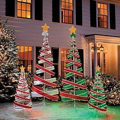 trendy outdoor christmas decorations spiral christmas tree christmas porch christmas lights - Homemade Outdoor Christmas Light Decorations
