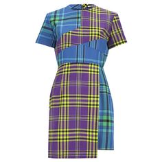 House of Holland Women's Cross Over Tartan Dress - Blue/Purple/Tartan (560 PLN) ❤ liked on Polyvore featuring dresses, blue, purple day dress, slimming dresses, slim fit dress, plaid dresses and exposed zipper dress