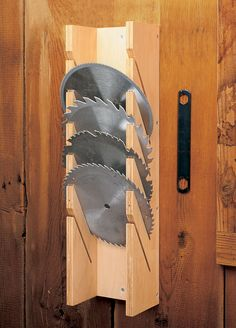 Saw Blade Storage – Garage Organization DIY Power Tool Storage, Garage Tool Storage, Garage Tools, Garage Shop, Garage Ideas, Lumber Storage, Wood Storage, Diy Storage, Power Tools