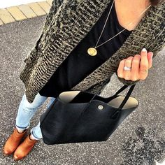 IG @mrscasual <click through to shop this look> marled cardigan.  Black tunic.  Tory Burch perry tote.  Cognac ankle booties.  Long initial necklace.