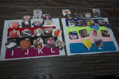 Alphabet quiet book page...sorting pictures by letters