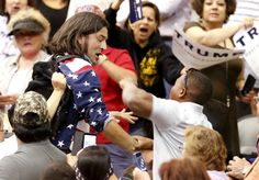 Another day, another beatdown at a Trump rally. With the GOP-MORON frontrunner on stage, a Trump supporter at a rally in Tucson viciously assaulted a protester who was being led away.