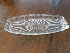 Depression Glass Sandwich Tray Block & Arches Pattern Crown Crystal