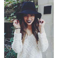 BeyondBeautyStar (Claudia Sulewski) rocks MAC's Cyber lipstick with a black hat. Amazing for fall.