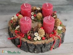 this is lovely - could be modified for advent wreath Christmas Advent Wreath, Christmas Candles, Christmas Centerpieces, Xmas Decorations, Rustic Christmas, Winter Christmas, All Things Christmas, Christmas Holidays, Christmas Crafts