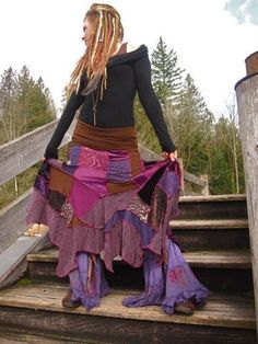 Patchwork psy hippy skirt.  Create your own LoNg GyPsy EcO UpCyCleD by IntergalacticApparel