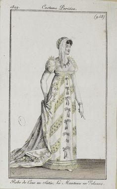 """Costume Parisien, 1809,     From the Bibliothèque des Arts Décoratifs via SceneInThePast flickr.   Plate 958  """"Robe de Cour en Satin, Le Manteau en Velours"""""""