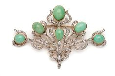 Persian Turquoise and Diamond Pendant-Brooch Platinum, gold, ca. 1905, 116 diamonds ap. 2.65 cts.
