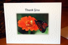 Thank You Butterfly and Orange Flower Embossed Photo Cards! - pinned by pin4etsy.com