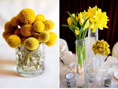 Bright yellow centerpieces lighten up the room. Like the wire detail around the vases on the right, too.