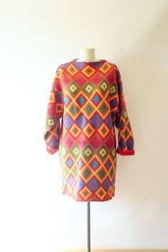 Vintage 80s Kenzo Geometric Print Multi Color by vintagevirtu, $300.00