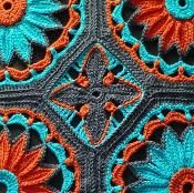 Crochet Daisy Cathedral Afghan Pattern Mary,Jesus and Joseph! I think I just found another crochet afghan for MYSELF! Diy Tricot Crochet, Mode Crochet, Crochet Daisy, Crochet Afgans, Crochet Crafts, Crochet Projects, Crochet Blankets, Crochet Flowers, Easy Crochet
