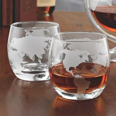Get away with every sip with these etched globe spirits glasses. Decorative etching of the world map brings out a new spin on serving spirits.