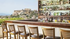 View the Acropolis from the roof top GB Roof Garden Bar at Hotel Grande Bretagne