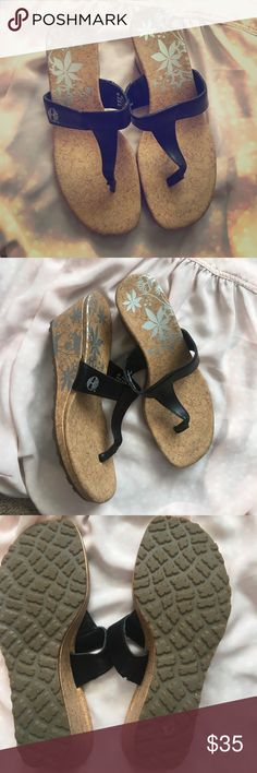 Timberland wedge sandals. Fit like a 5.5. New! Black, brown, and silver. Timberland Shoes Wedges