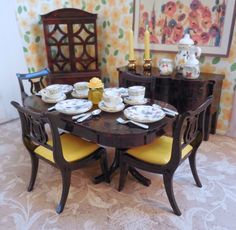 Details About Ideal DINING ROOM SET W DISHES Vintage Dollhouse Furniture Renwal Plastic 116