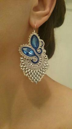 Soutache Necklace, Beaded Earrings, Beaded Jewelry, Handmade Jewelry, Handmade Necklaces, Jewelry Tools, Jewelry Crafts, Jewelry Design, Jewelry Making