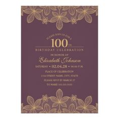 Wine Red 100th Birthday Party Unique Golden Lace Card - formal speacial diy personalize style template