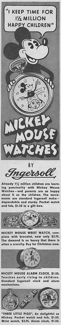 Ad for Mickey Mouse watches and clocks made by Ingersoll. October 13, 1934