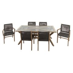 DecMode 7 Piece Wooden Patio Dining Set