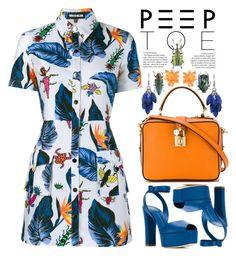"""Peep-Toe Pumps"" by justkejti ❤ liked on Polyvore featuring Alexa Starr, House of Holland, Giuseppe Zanotti, Dolce&Gabbana, Amara, Heels, peeptoe and orangeandblue"