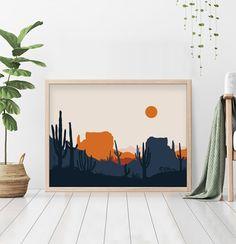 Southwestern Desert Wall Art, Cactus Abstract Mid Century Modern Art Print, Navy Blue and Burnt Orange Minimalist Arizona Printable art Posca Art, Desert Art, Minimalist Painting, Mid Century Modern Art, Modern Art Prints, Painting Inspiration, Design Inspiration, Art Pictures, Printable Art