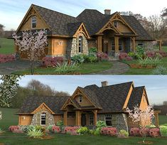 Oh my! Gorgeous! I WISH!! Plan W16800WG: Craftsman, Mountain, Cottage, Corner Lot, Ranch, Vacation House Plans & Home Designs. Oh my, I LOVE this house. Need to see the inside.
