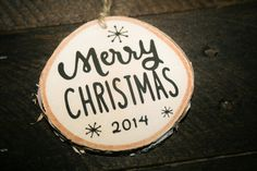 2014 Wooden Christmas Ornament – handpainted birch wood disc with rustic twine
