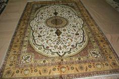 6'x9' Handmade Hand-knotted 450 kpsi Silk Oriental Persian Tabriz Rug B499