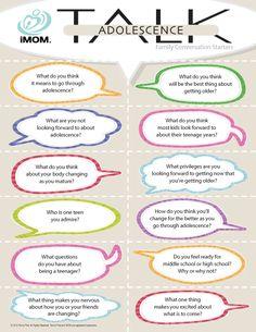 Adolescence Talk #conversation starters http://imom.com/tools/conversation-starters/adolescence-talk/