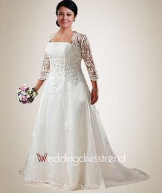 Beautiful Beading Embroidery Plus Size Wedding Dress with Jacket - Shop Online for Plus Size Wedding Dresses