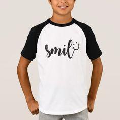 Smile Panda Kids Short Sleeve Raglan T Shirt