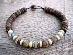 Mens surfer bracelet etched agate dzi bone and coconut shell
