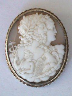 Antique Silver gilt Cameo Brooch