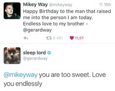 april 9th ✧ mikey and gerard way on twitter
