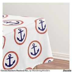 Circled Anchors Nautical Pattern Tablecloth