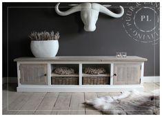 Maatwerk / landelijk tv meubel / ROMANTIC BEACH / 4 deurs | 》Landelijk tv meubel / flatscreenmeubel / flatscreenkast | Puur & Landelijk Livi...