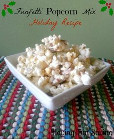 Funfetti Popcorn Mix Holiday Recipe from Having fun Saving and Cooking.